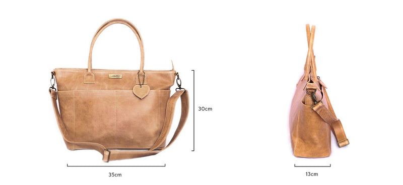 Mally Beula Leather Baby Bag | Tan - KaryKase