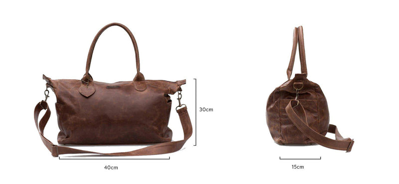 Mally Classic Leather Baby Bag | Brown - KaryKase