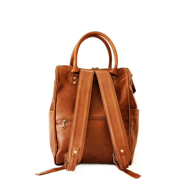Mally Multipurpose Leather Backpack | Toffee
