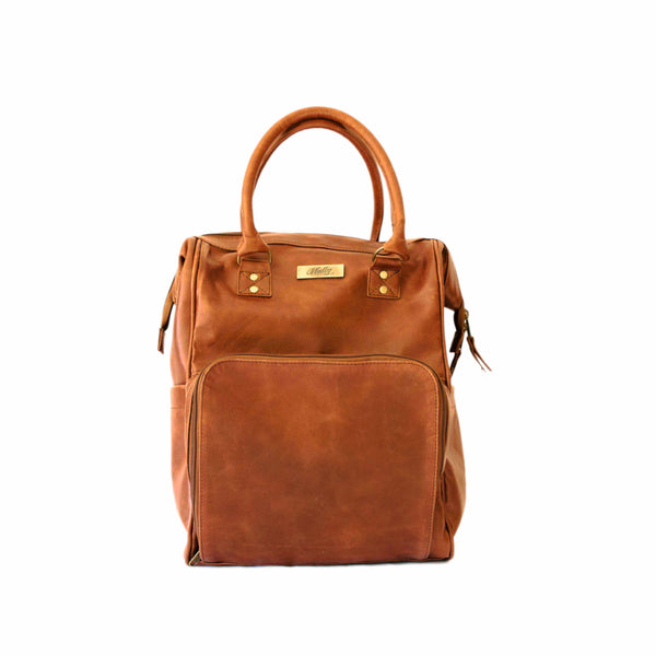 Mally Bambino Leather Baby Backpack | Toffee