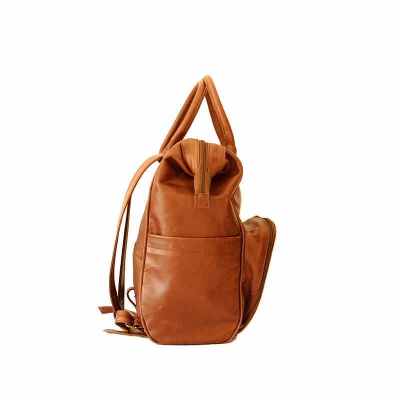 Mally Multipurpose Leather Backpack | Toffee - KaryKase