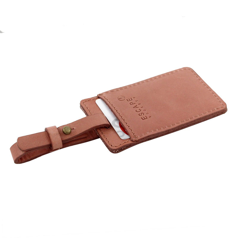Escape Society Utility Leather Luggage Tag | Dusty Pink - KaryKase