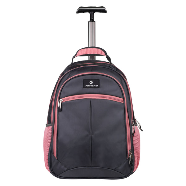 Volkano Orthopaedic Trolley Backpack 27L | Dark Grey/ Pink - KaryKase