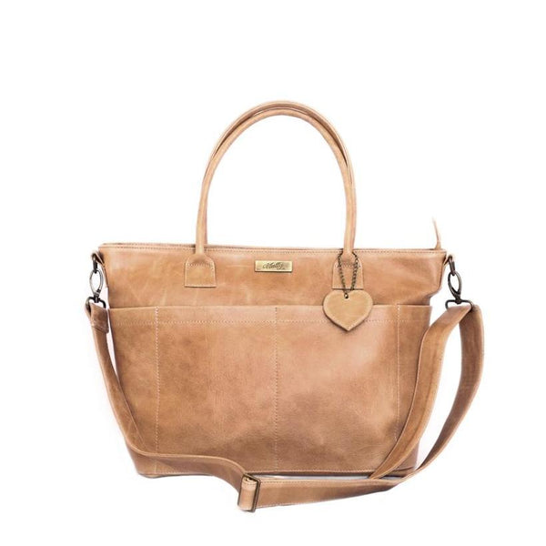 Mally Beula Leather Baby Bag | Tan