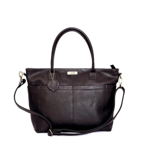 Mally Beula Leather Baby Bag | Black - KaryKase