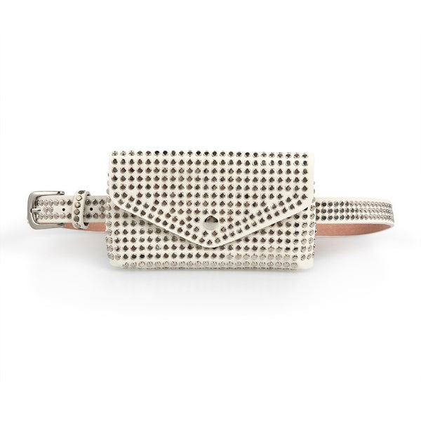 Tessa Design Studded Waist Bag | White - KaryKase