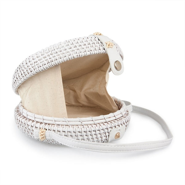 Tessa Design Weave Wicker Bag | White - KaryKase