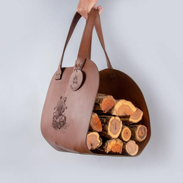 Yuppie Gift Baskets Woodie Leather Log Carrier - KaryKase