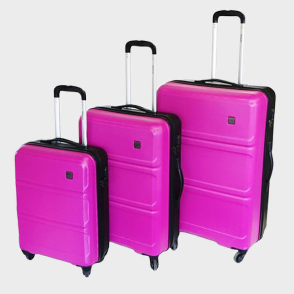 Tosca Elegant Vibe 3 Piece Luggage Trolley Set | Pink/Black