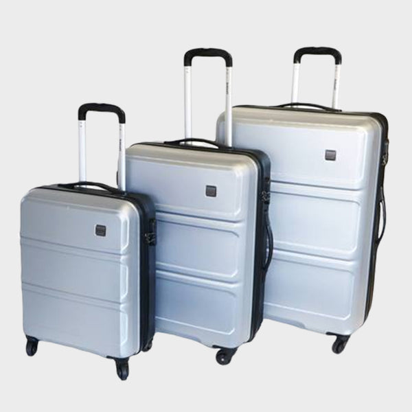 Tosca Elegant Vibe 3 Piece Luggage Trolley Set | Silver/Black