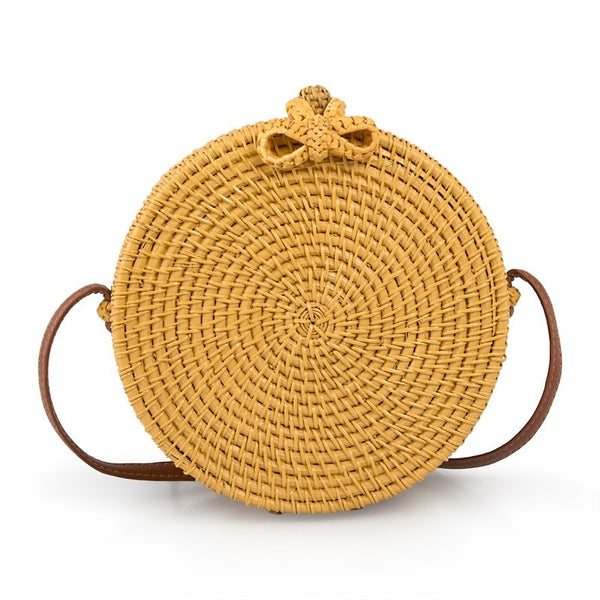 Tessa Design Round Wicker Bag | Yellow - KaryKase