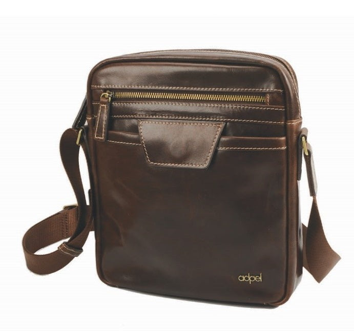 Adpel Lucca Leather Messenger Bag | Brown - KaryKase