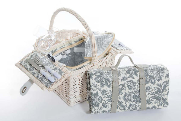 Yuppie Gift Baskets Wine Picnic Basket (2 Persons) | White-Grey - KaryKase