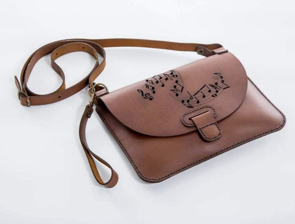 Yuppie Gift Baskets Music Notes Design Leather Clutch Handbag | Brown - KaryKase