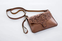 Yuppie Gift Baskets Flower Design Leather Clutch Handbag | Brown - KaryKase