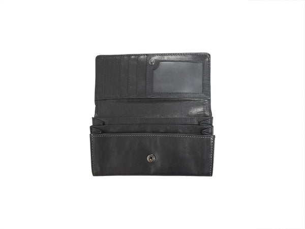 Busby Leather Ladies Zulu Clutch Purse | Black - KaryKase