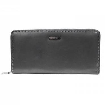 Busby Leather Ladies Zulu Zip Around Clutch Purse | Black - KaryKase