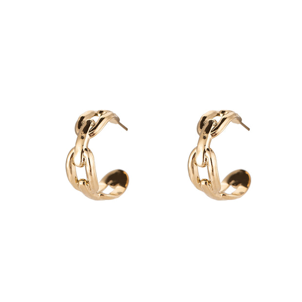 Arching Chain Hoops Gold