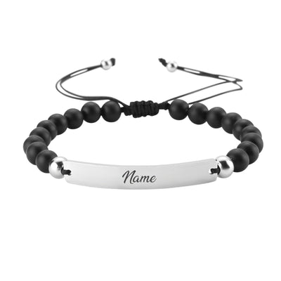 Black Beads Armband Silber