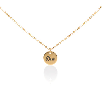 Coin necklace with engraving gold