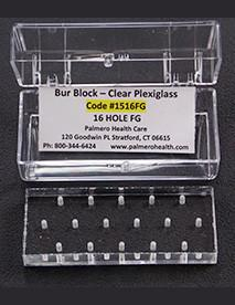 PAL1516FG - Plexiglass Bur Block, 16 Hole, Friction Grip (FG)