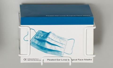 PAL1856 - Hold-It Face Mask Box Holder, for Ear Loop/Pleated Masks, 5in. X 6in. X 5in.