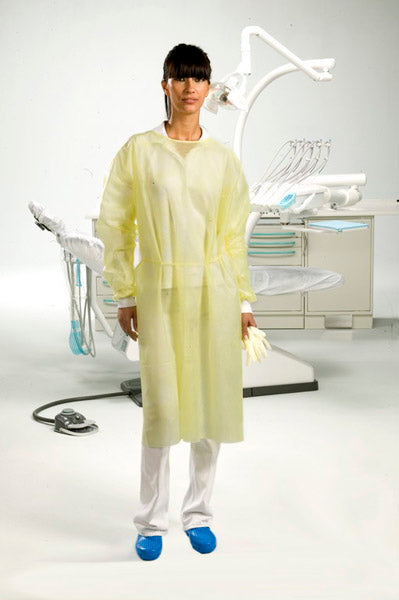 "22.D1304.00 - Gown, Fluid Resistant NWF w/ Cotton Cuffs, Yellow (43.34"")"
