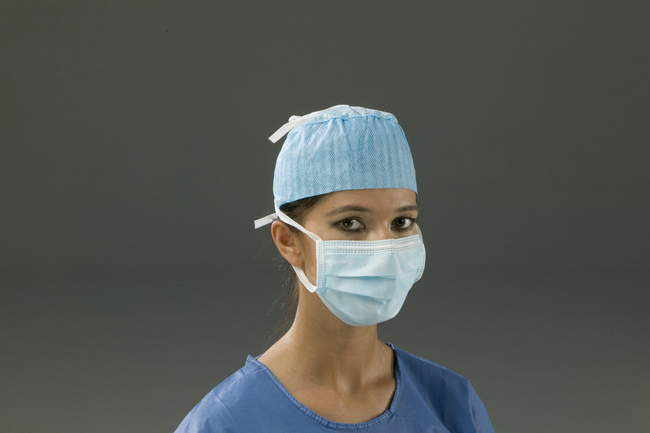 30.M1303.00 - 3 Layer Face Mask w/ Strings, Light Blue