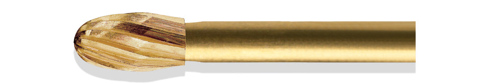 BCF0001OF - ExcaliBur Egg Carbide Gold Finishing Bur, Ø2.3mm x 4.3mm, FG, (US OF1), 5 Pcs.