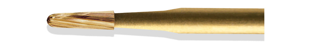 BCF0002OF - ExcaliBur Round End Taper Carbide Gold Finishing Bur, Ø0.9mm x 3.2mm, FG, (US OF2), 5 Pcs.