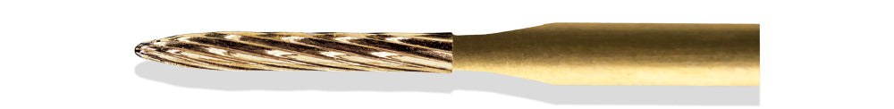 BCF0049LF - ExcaliBur Long Flame Carbide Gold Finishing Bur, Ø1.2mm x 8.0mm, FG, (US 49L), 5pcs.