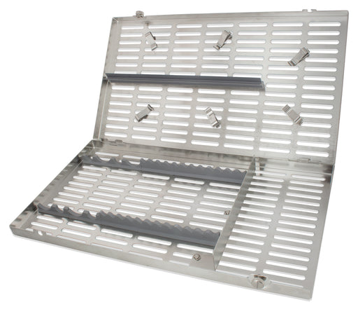 CAS8001 - Stainless Steel Cassette #8001, Extra Large, Gray Inserts, 14.5 X 8 X 1.25 In.