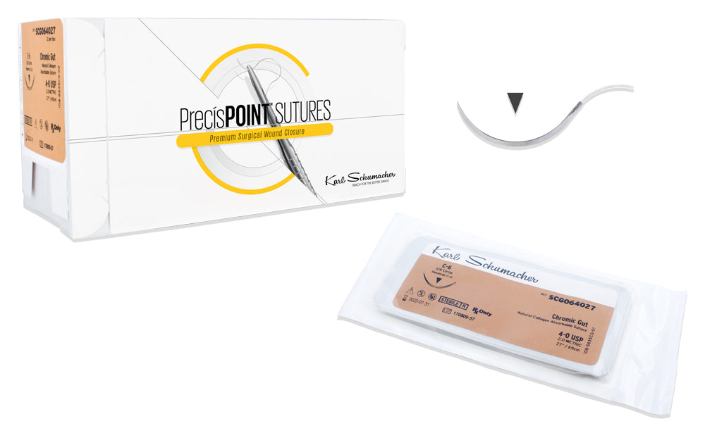PrecísPOINT™ Surgical Chromic Gut Sutures, 12/box.