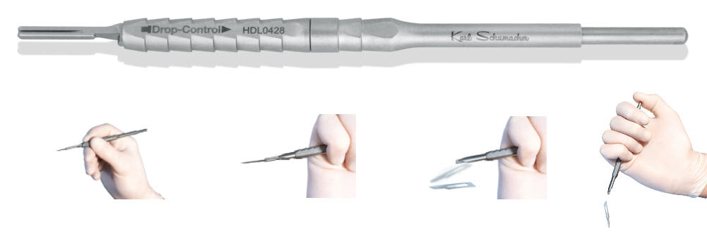 HDL0428 - Drop Blade Scalpel Handle #428 Self-Ejecting Blade Design