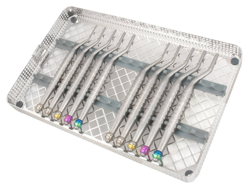OSTSET10 - Set of 10 Bayonet Osteotomes (5 Concave, 5 Convex) with Washtray