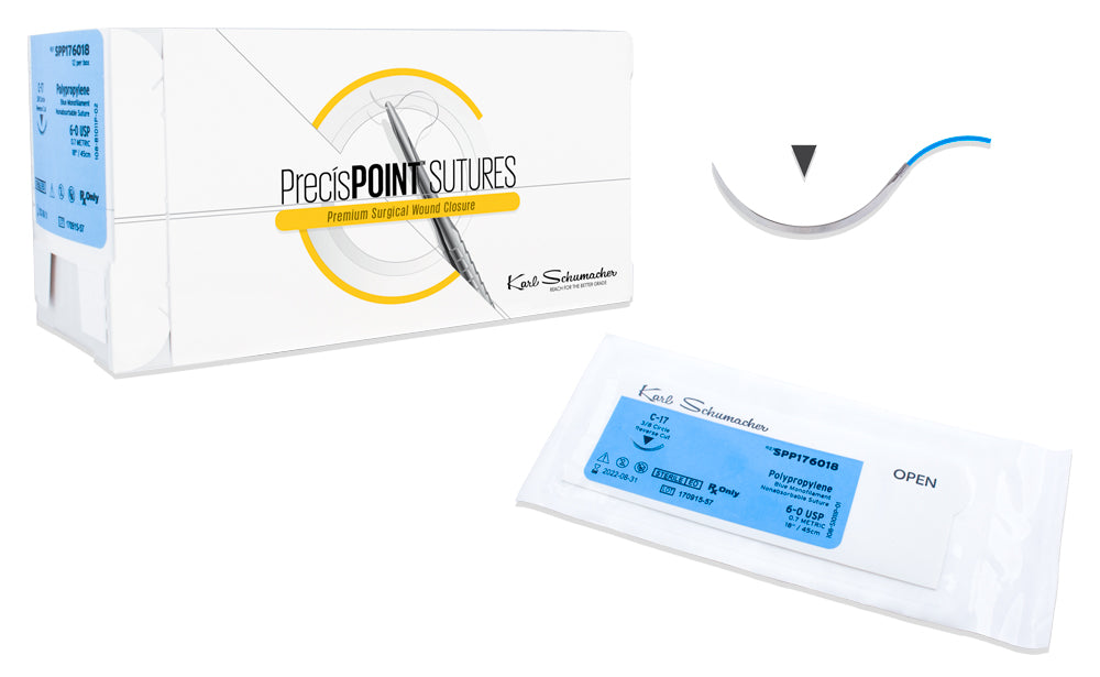 PrecísPOINT™ Blue Polypropylene Sutures, 12/box.