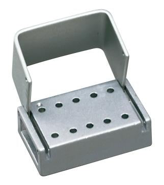 PAL0010CL - Anodized Aluminum Bur Block, 10 Hole, Right Angle Latch (RA)