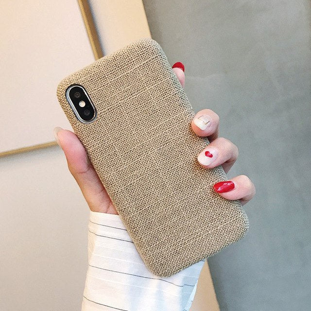 cheap for discount a8486 25dea SoCouple Cloth Texture Soft case For iphone 7 Case Ultra-thin Canvas Grid  Pattern Phone Cases For iphone 6 6S 7 8 Plus X Xs Max