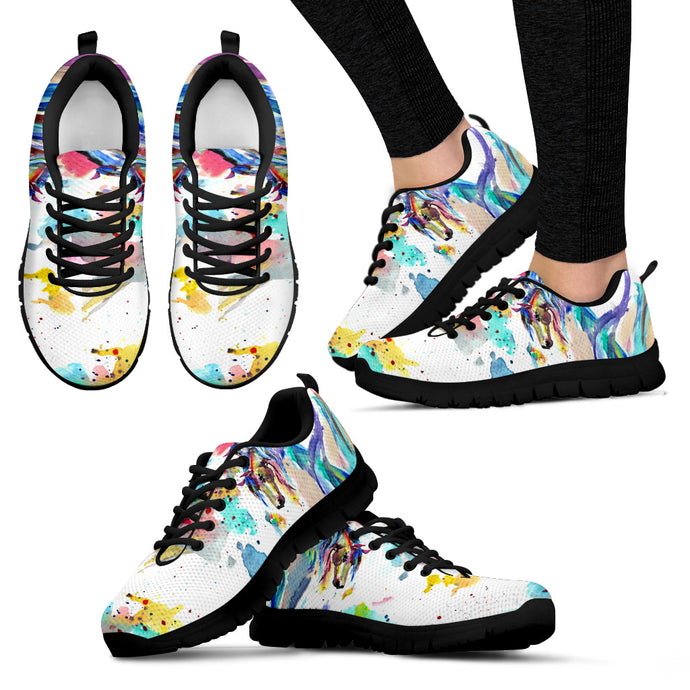 Abstract Horse - Black Women's Sneakers