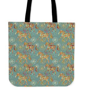 Marching Flowery Horse Tote Bag
