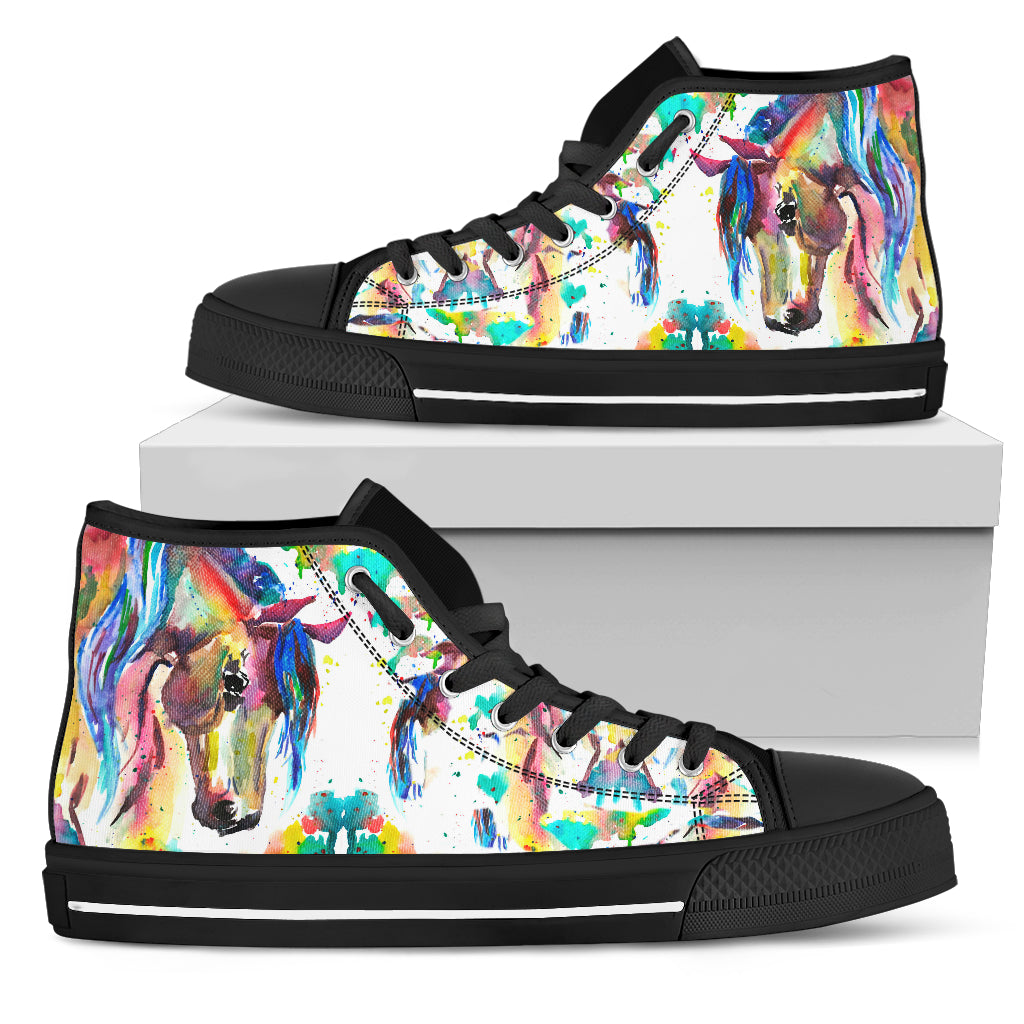 Abstract Rider- Black Women's High Top Shoes