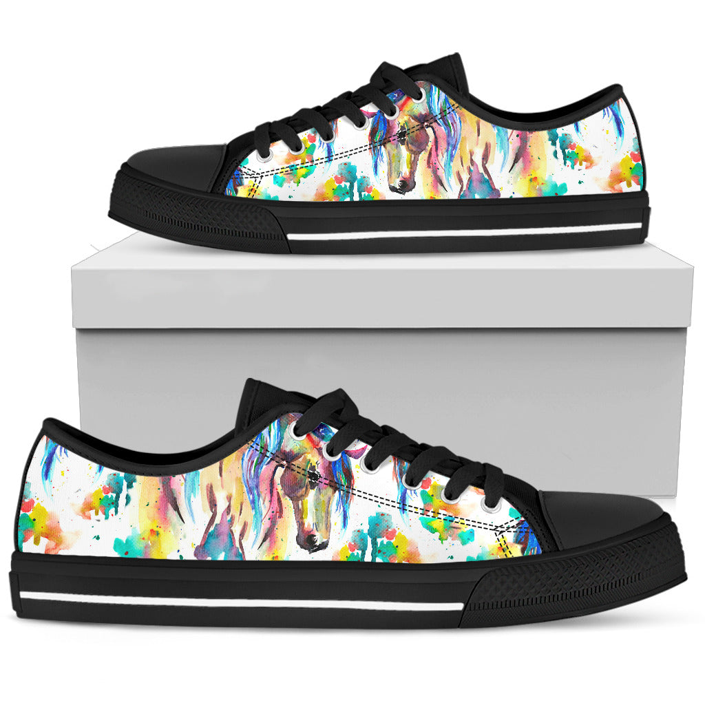 Artistic Horse - Black Women's Low Top Shoes