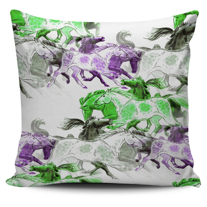 Colorful Horses Runners Pillow Cover