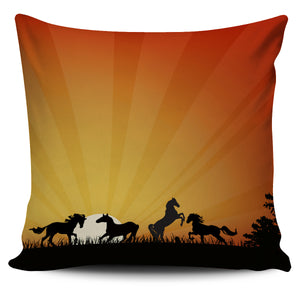 Horses Playing At Sunrise Pillow Cover