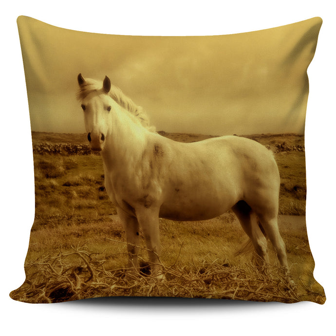 White Horse In The Field Pillow Cover