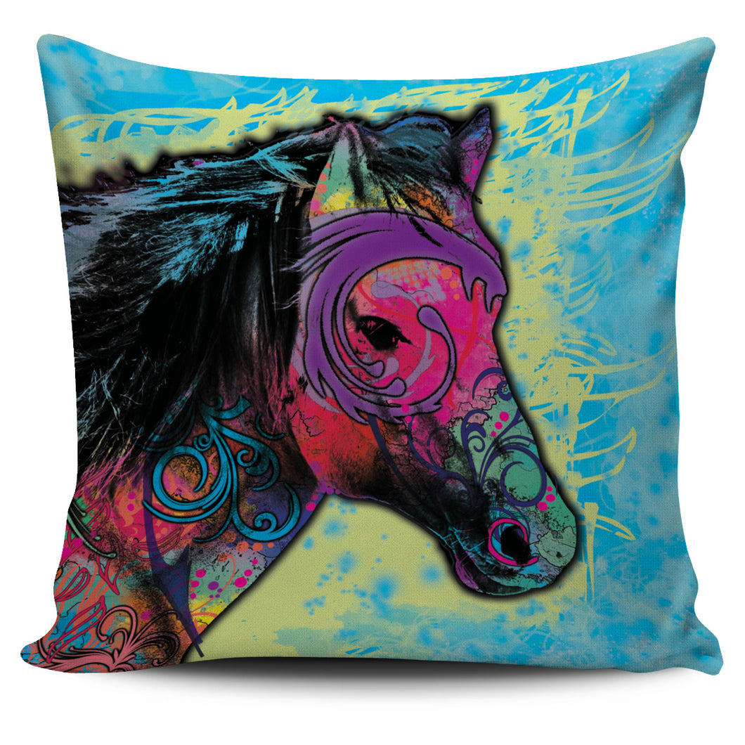 Blue Tribal Horse Pillow Cover
