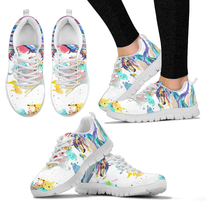 Abstract Horse - White Women's Sneakers