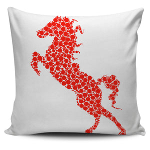 Red Standing Horse Pillow Cover