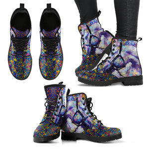 Abstract Purple Horse Women's Leather Boots