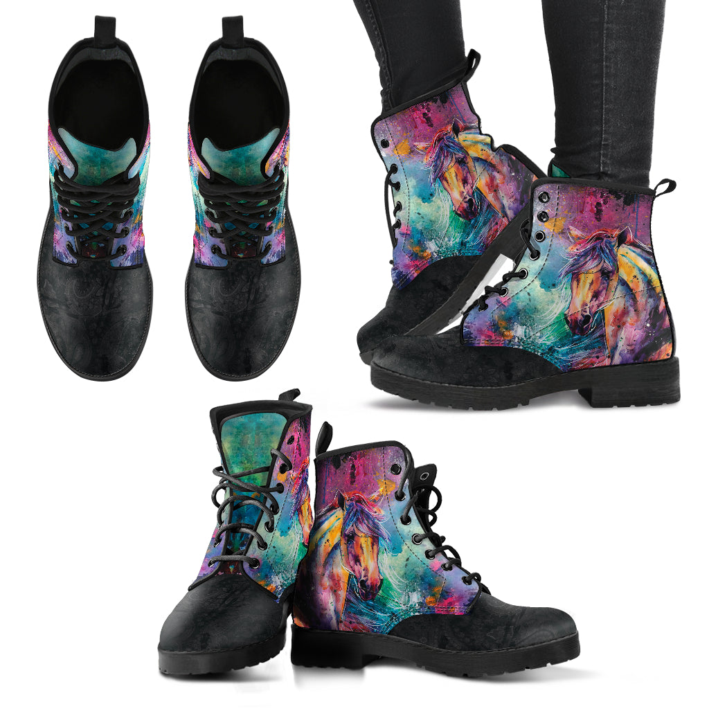 Colorful Horse Women's Leather Boots